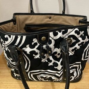 Black and white quilted handbag